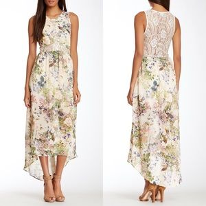 Anthropologie ASTR Lace Illusion Hi-Lo Print Maxi